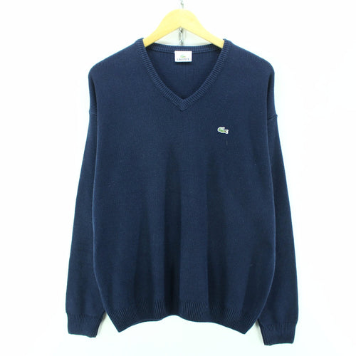 Lacoste Men's V-Neck Jumper Size 4 L Long Sleeves Blue Cotton Sweater