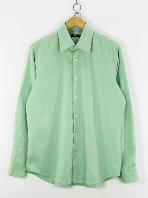 HUGO BOSS Mens Formal Shirt, Size L, 16 1/2 - 42, L, Green, Long Sleeve, Cotton