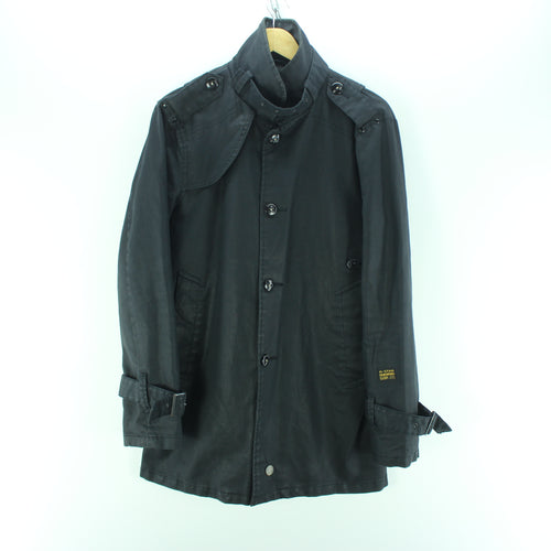 Stylish Men's G-Star Coat in Black Cotton Button Front Trench Coat