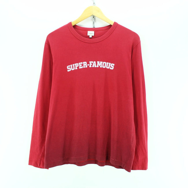 Tommy Hilfiger Men's T-Shirt Size L Red Long Sleeve Cotton Casual T-Shirt, T-shirt, Tommy Hilfiger, - Top-Garms