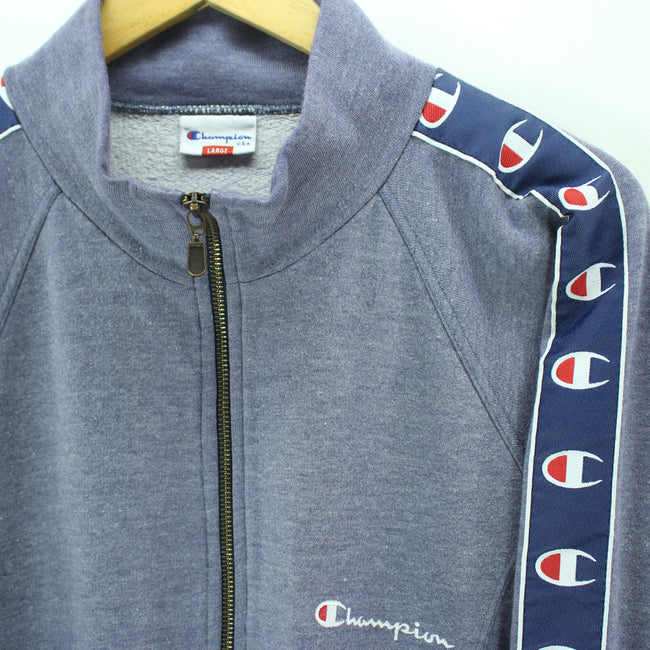 Vintage Men's Champion Track Jacket in Blue Size L Running Zipped Sweater, Tracksuit, Champion, - Top-Garms