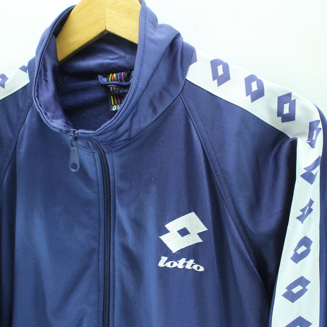 Vintage Lotto Men's Track Jacket Size L in Blue Color Arm Tape Logo Zip, Tracksuit, Lotto, - Top-Garms