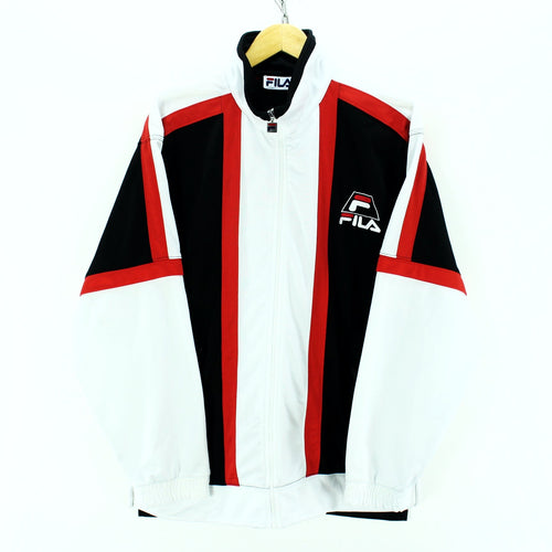 Vintage 90s FILA Men's Track Jacket in Black & White Full Zip Shell Jacke