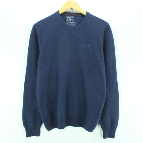 Woolrich Men's Sweater Size S in Blue Crew Neck Wool Long Sleeve Jumper