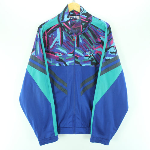 Vintage FILA Mens Track Jacket Size 2XL Multicolor Crazy Pattern Tracktop