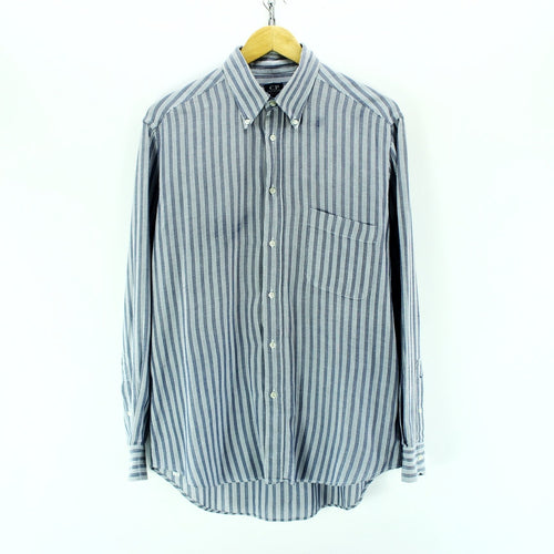 C.P. Company Men's Shirt Size 16-41 L Blue Striped Long Sleeve Cotton