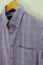 Armani Mens Casual Shirt Size XS XSmall Short Sleeve Cotton Check Top, Shirt, Armani, - Top-Garms