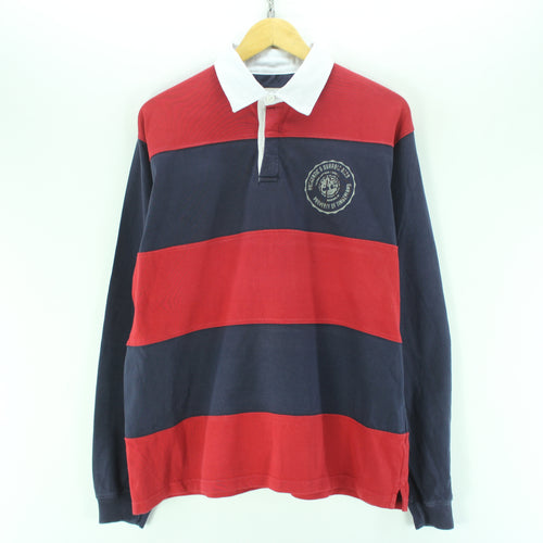 Timberland Men's Rugby Shirt in Red & Blue Size L Longsleeves Polo Shirt
