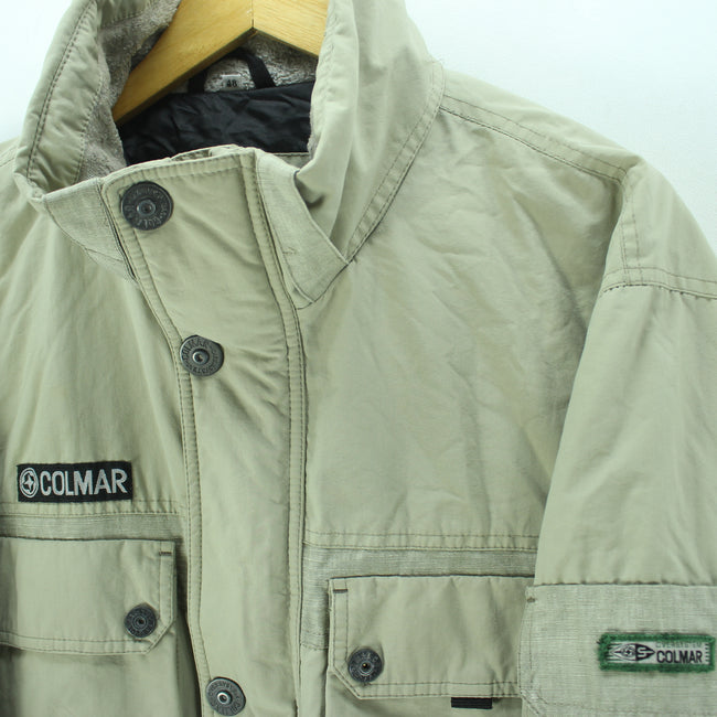 Colmar Basic Jacket in Beige Size M Full Zip Quality Winter Coat - Top-Garms