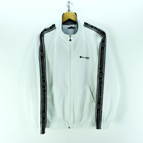 Champion Men's Tracksuit Size S in White Arm Tape Zipped Logo Long Sleeve