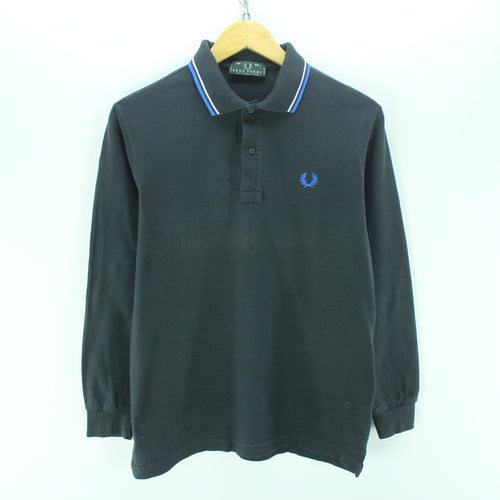 Fred Perry Men's Polo Shirt Size 38 M Blue Long Sleeve Cotton Casual
