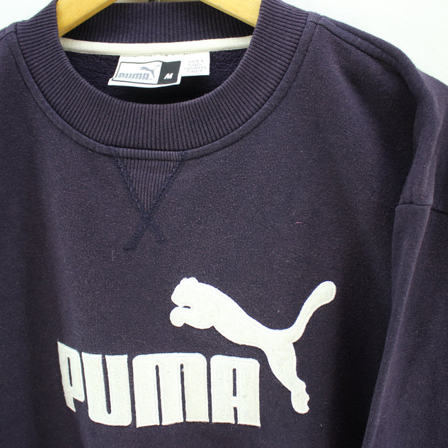 Vintage PUMA Men's Sweatshirt in Blue Size M Oversized Crew Neck Big Logo, Jumper Sweater, PUMA, - Top-Garms