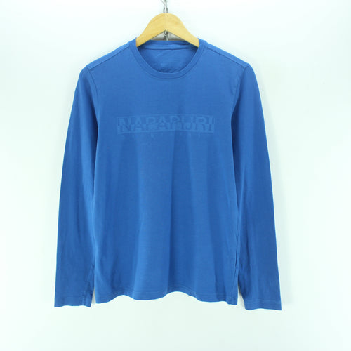 Napapijri Men's T-Shirt Size S Blue Crew Neck Long Sleeve Cotton Casual