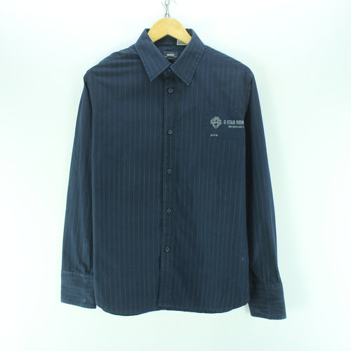 G-Star Men's Shirt Size L in Blue 100% Cotton Casual Striped Shirt