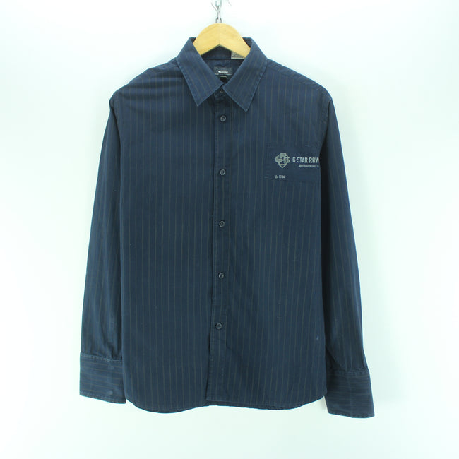G-Star Men's Shirt Size L in Blue 100% Cotton Casual Striped Shirt, Shirt, G-STAR, - Top-Garms