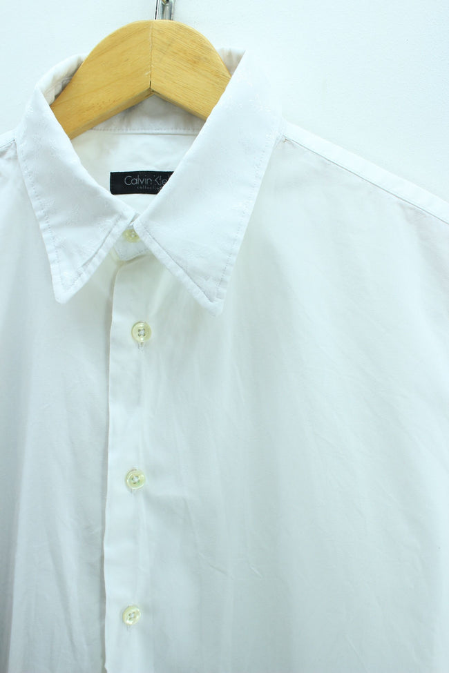 Calvin Klein Men's Formal Shirt Size M Slim Fit Floral Collar Cotton Shirt, Shirt, Calvin Klein, - Top-Garms