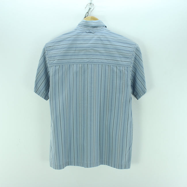 Timberland Kids Shirt Size 12 Years in Blue Cotton Short Sleeve Striped, Shirt, Timberland, - Top-Garms