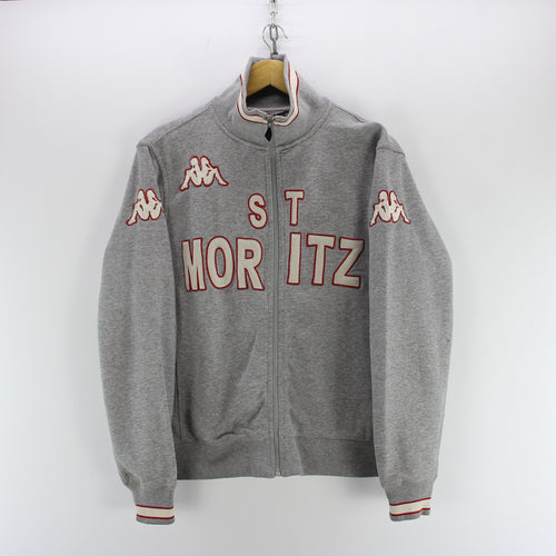 Kappa Men's Full Zip Sweatshirt in Grey Size S St. Moritz Spellout