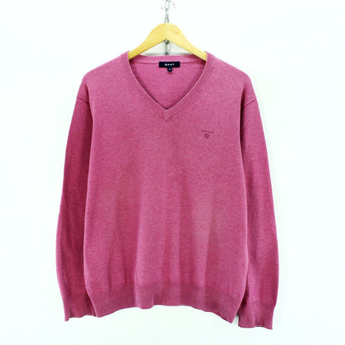GANT Men's Jumper in Pink Size M Long Sleeve Premium Cotton Sweater