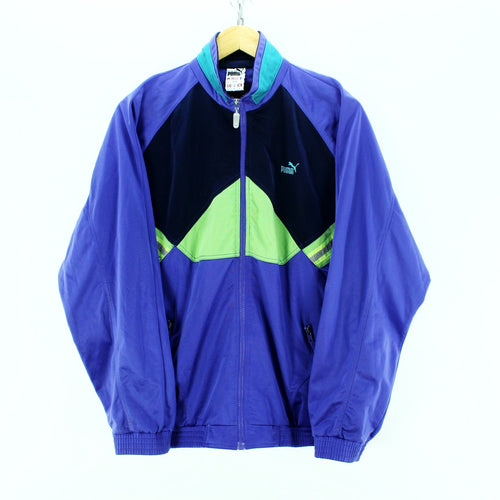 Vintage Puma Track Jacket Size 40'' M Full Zip Purple Tracksuit Jacket