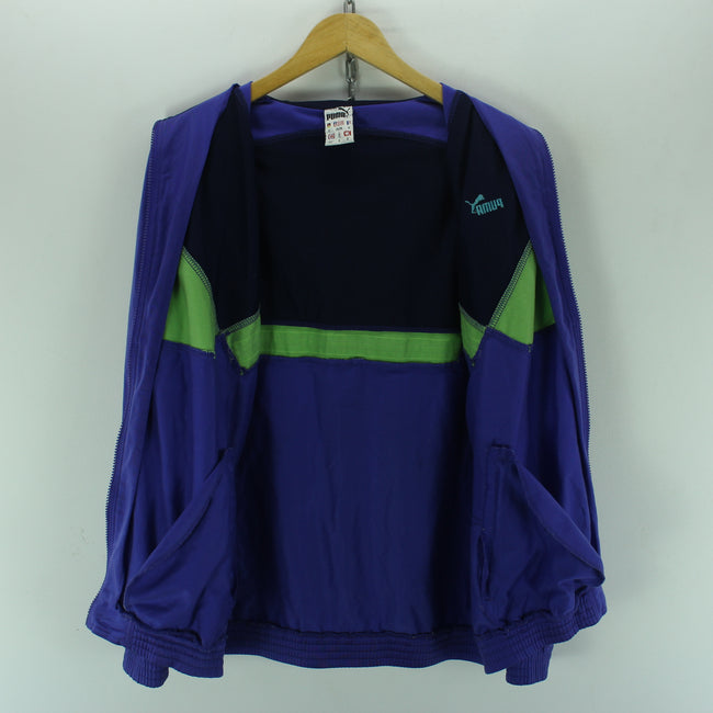 Vintage Puma Track Jacket Size 40'' M Full Zip Purple Tracksuit Jacket, Tracksuit, Puma, - Top-Garms