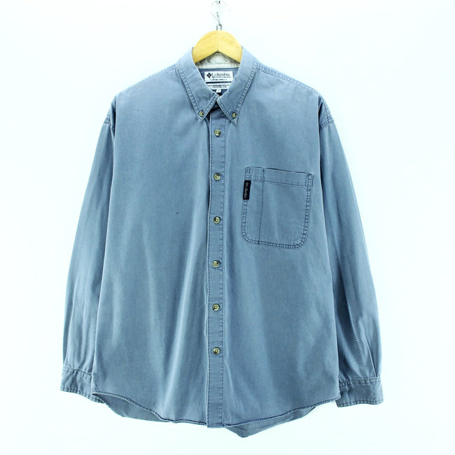 Columbia Men's Shirt Size L Blue Long Sleeve Cotton Casual Shirt, Shirt, Columbia, - Top-Garms