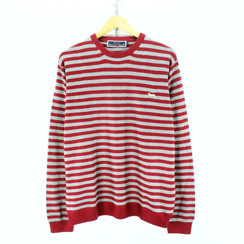 Harmont & Blaine Men's Sweater Red Grey Size XL Crew Neck Striped Jumper