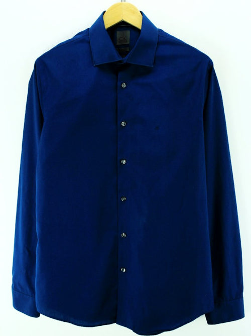 Calvin Klein Men's Shirt Size 40-15-3/4 S Blue Long Sleeve Cotton Casual