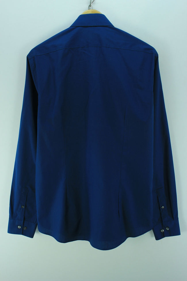 Calvin Klein Men's Shirt Size 40-15-3/4 S Blue Long Sleeve Cotton Casual - Top-Garms