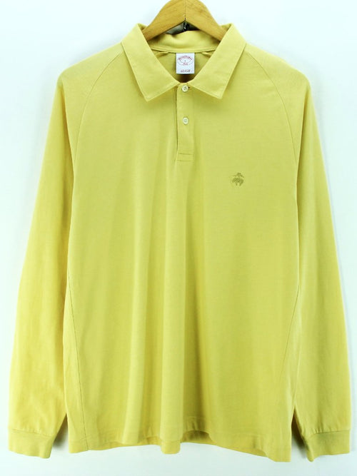Brooks Brothers Men's Polo Shirt Size L Yellow Long Sleeve Cotton Casual