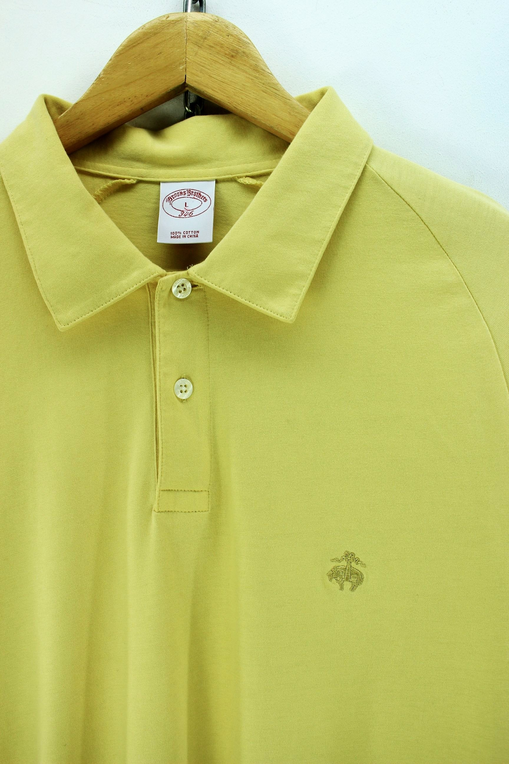 Brooks Brothers Men s Polo Shirt Size L Yellow Long Sleeve Cotton Casual -  Top-Garms c04ef557e