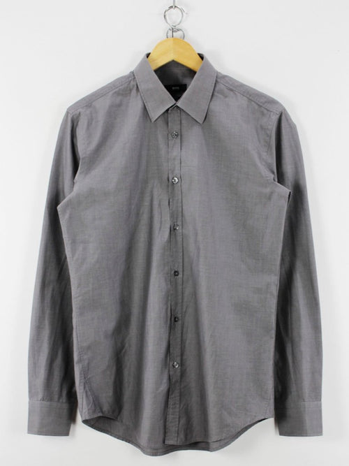 HUGO BOSS mens Formal Shirt, Size 15 1/2 - 39, Slim Fit Grey, Long Sleeve