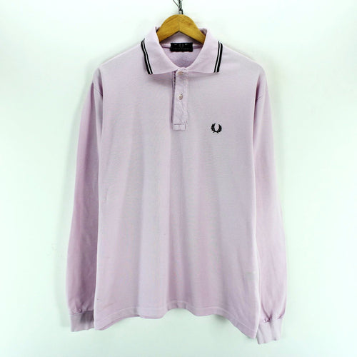 "Fred Perry Men's Polo Shirt Size L 40"" Pink Color Cotton Long Sleeve"