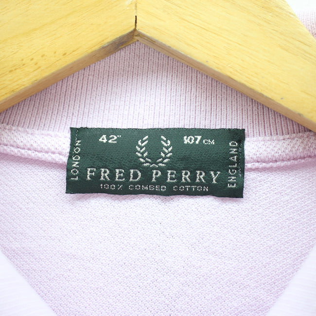 "Fred Perry Men's Polo Shirt Size L 40"" Pink Color Cotton Long Sleeve - Top-Garms"