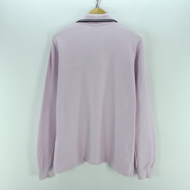 "Fred Perry Men's Polo Shirt Size L 40"" Pink Color Cotton Long Sleeve, Polo Shirt, Fred Perry, - Top-Garms"