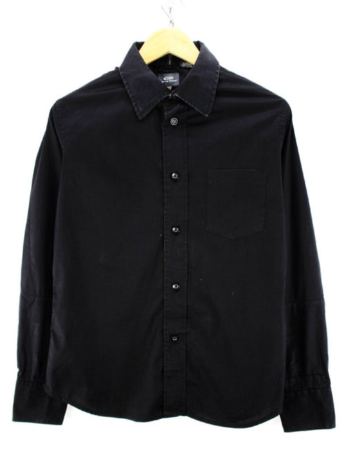 G-Star Men's Shirt Size M in Black Color Cotton Solid Pattern Long Sleeve