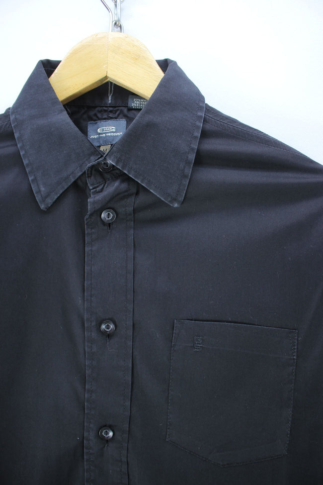 G-Star Men's Shirt Size M in Black Color Cotton Solid Pattern Long Sleeve, Shirt, G-Star, - Top-Garms