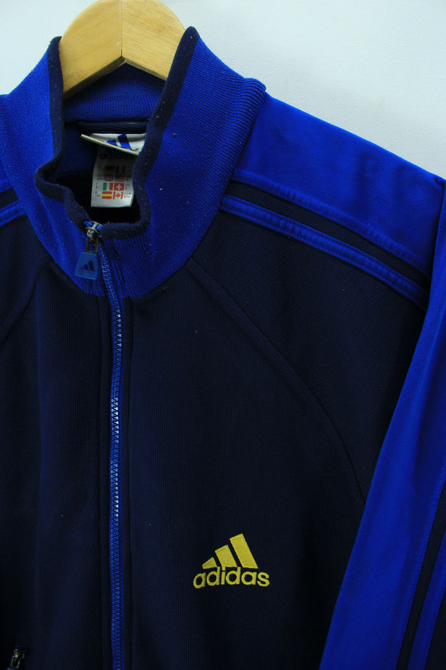 adidasMens Vintage Tracksuit Top Size M, 38/40, Retro Running Jacket - Top-Garms