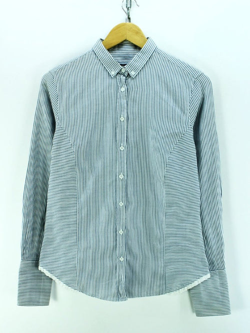 GANT Men's Shirt Size S 12 in White & Blue Cotton Striped Long Sleeve
