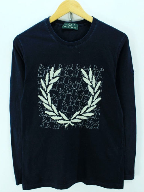 Fred Perry MensT-Shirt, Size S, Navy Blue Big Logo Long Sleeve, Cotton