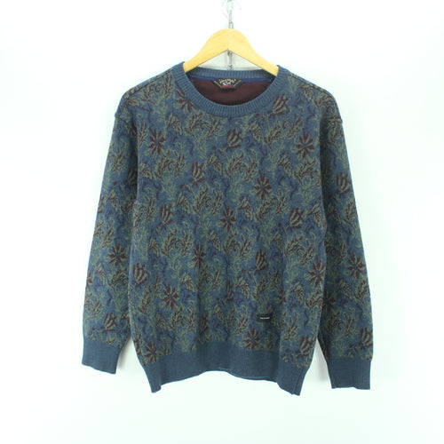 Paul & Shark Men's Sweater Size M in Blue, Floral Crew Neck Long Sleeve