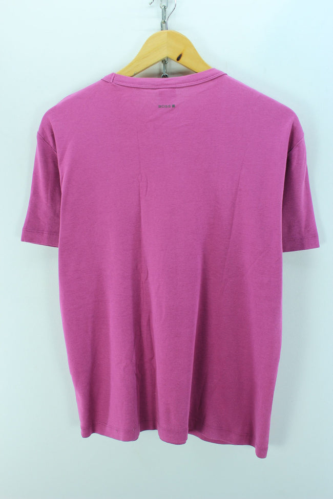 HUGO BOSS Women's T-Shirt, Size XL, Purple, Short Sleeve Cotton Crew Neck, T-shirt, HUGO BOSS, - Top-Garms