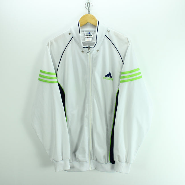 Adidas Men's Track Jacket Size L in White Full Zip Polyester Long Sleeve, Tracksuit, adidas, - Top-Garms