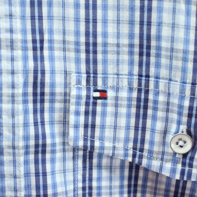 Tommy Hilfiger Men's Shirt Size S Blue Checkered Short Sleeve Cotton, Shirt, Tommy Hilfiger, - Top-Garms