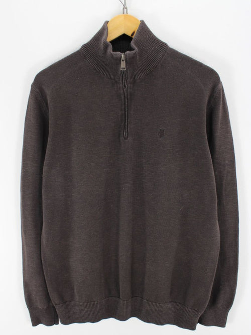 Marc O'Polo Mens 1/4 Zip Jumper, Size L Brown cotton zip neck jumper