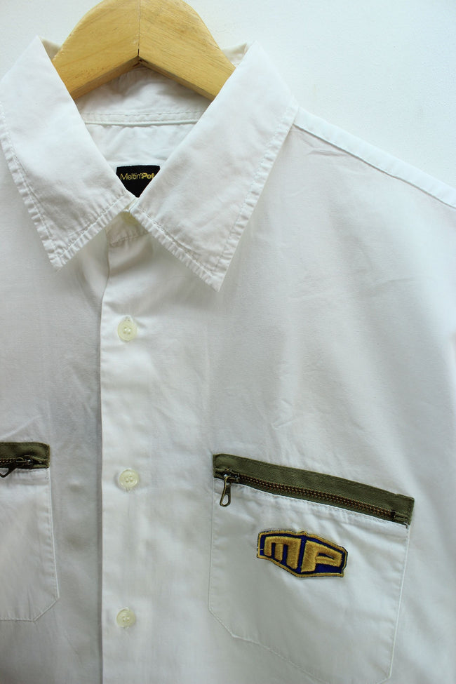Meltin'PotMens Vintage Shirt, Size 2XL, White, Short Sleeve Cotton Casual, Shirt, Meltin Pot, - Top-Garms