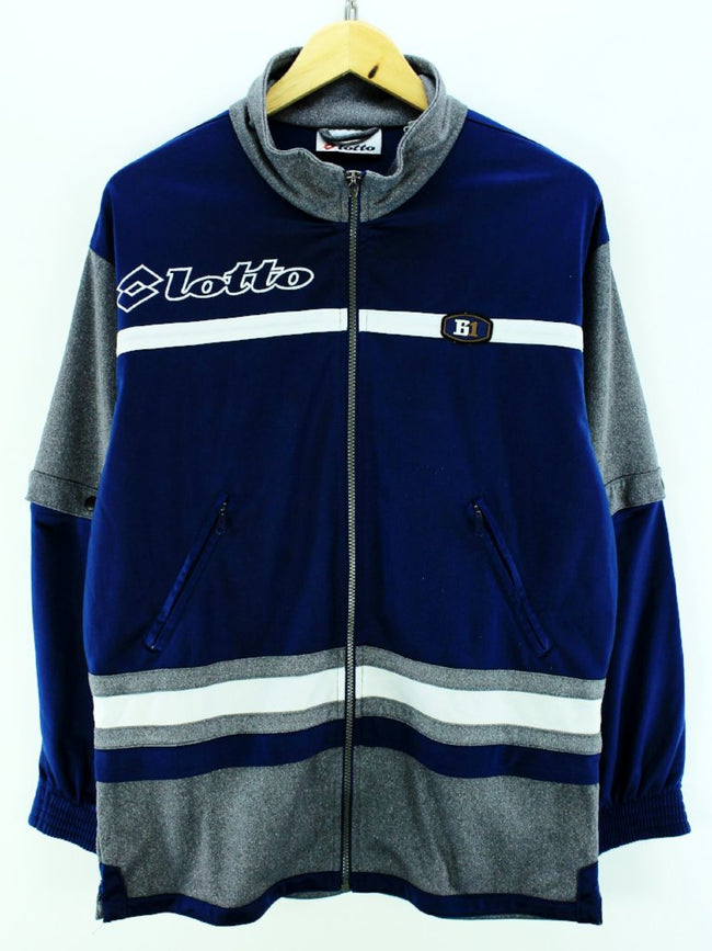Vintage Lotto Men's Tracksuit Jacket Size M 38/40 Blue & Grey Track Top, Tracksuit, Lotto, - Top-Garms
