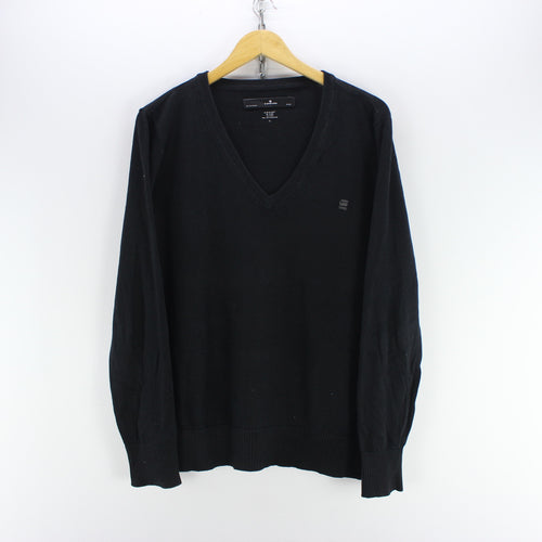 G-Star Men's Sweater Size M in Black V Neck Long Sleeve Top