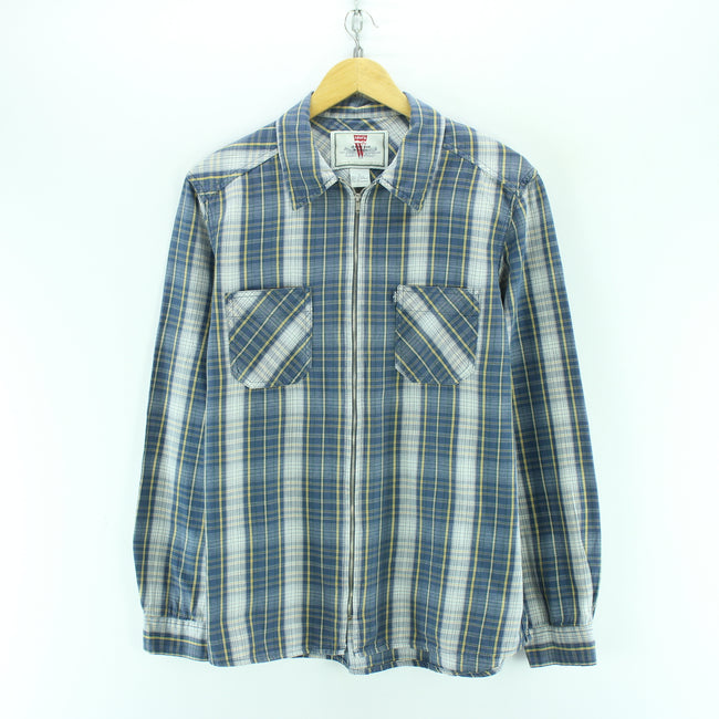 Levi's Women's Shirt Size L in Bue Zipped Shirt Check Cotton Long Sleeve, Shirt, Levi's, - Top-Garms
