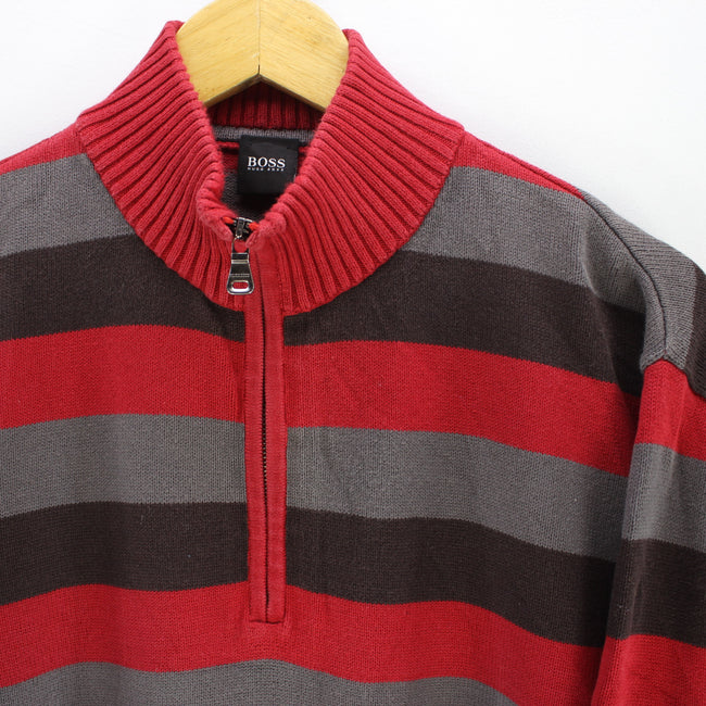 HUGO BOSS Men's Jumper Size L in Multicolor Zip Neck Striped Long Sleeve, Jumper Sweater, HUGO BOSS, - Top-Garms